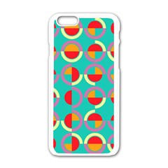 Semicircles And Arcs Pattern Apple Iphone 6/6s White Enamel Case by linceazul