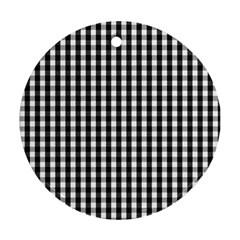 Small Black White Gingham Checked Square Pattern Ornament (Round)