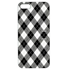 Argyll Diamond Weave Plaid Tartan in Black and White Pattern Apple iPhone 5 Hardshell Case with Stand by PodArtist