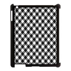 Argyll Diamond Weave Plaid Tartan In Black And White Pattern Apple iPad 3/4 Case (Black)