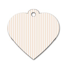 Pale Cucumber Pin Stripe on White Dog Tag Heart (Two Sides) by PodArtist