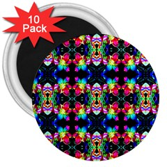 Colorful Bright Seamless Flower Pattern 3  Magnets (10 Pack)