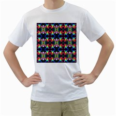 Colorful Bright Seamless Flower Pattern Men s T Shirt (white) (two Sided)