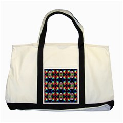 Colorful Bright Seamless Flower Pattern Two Tone Tote Bag by Costasonlineshop