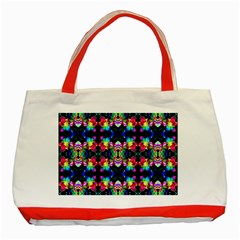Colorful Bright Seamless Flower Pattern Classic Tote Bag (red) by Costasonlineshop