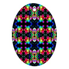 Colorful Bright Seamless Flower Pattern Oval Ornament (two Sides) by Costasonlineshop