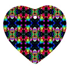 Colorful Bright Seamless Flower Pattern Heart Ornament (two Sides)