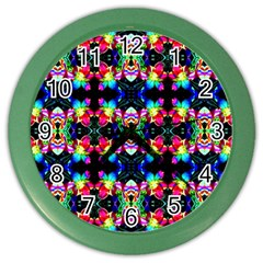 Colorful Bright Seamless Flower Pattern Color Wall Clocks