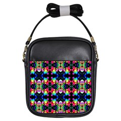 Colorful Bright Seamless Flower Pattern Girls Sling Bags by Costasonlineshop