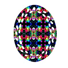 Colorful Bright Seamless Flower Pattern Oval Filigree Ornament (two Sides) by Costasonlineshop