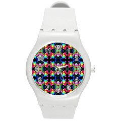 Colorful Bright Seamless Flower Pattern Round Plastic Sport Watch (m) by Costasonlineshop