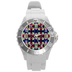 Colorful Bright Seamless Flower Pattern Round Plastic Sport Watch (l) by Costasonlineshop