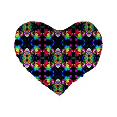 Colorful Bright Seamless Flower Pattern Standard 16  Premium Heart Shape Cushions