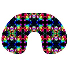 Colorful Bright Seamless Flower Pattern Travel Neck Pillows by Costasonlineshop