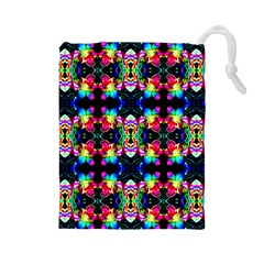 Colorful Bright Seamless Flower Pattern Drawstring Pouches (large)  by Costasonlineshop