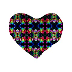 Colorful Bright Seamless Flower Pattern Standard 16  Premium Flano Heart Shape Cushions by Costasonlineshop