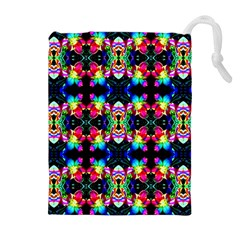 Colorful Bright Seamless Flower Pattern Drawstring Pouches (extra Large) by Costasonlineshop