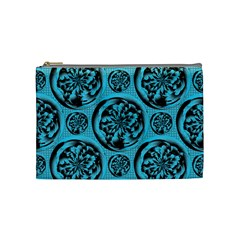 Turquoise Pattern Cosmetic Bag (medium)  by linceazul
