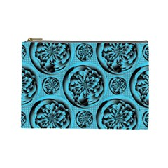 Turquoise Pattern Cosmetic Bag (large)  by linceazul