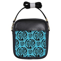 Turquoise Pattern Girls Sling Bags by linceazul