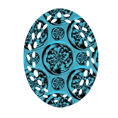 Turquoise Pattern Oval Filigree Ornament (two Sides) by linceazul