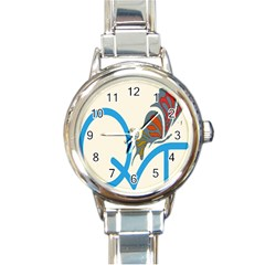 Butterfly Round Italian Charm Watch by Mariart