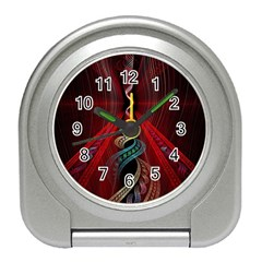 Artistic Blue Gold Red Travel Alarm Clocks by Mariart