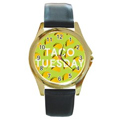 Bread Taco Tuesday Round Gold Metal Watch by Mariart