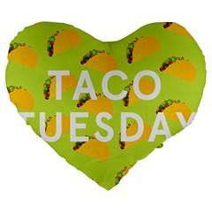 Bread Taco Tuesday Large 19  Premium Flano Heart Shape Cushions by Mariart