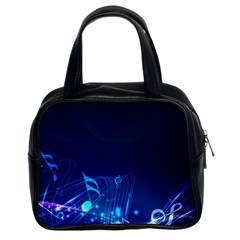 Abstract Musical Notes Purple Blue Classic Handbags (2 Sides) by Mariart