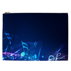 Abstract Musical Notes Purple Blue Cosmetic Bag (xxl)  by Mariart