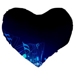 Abstract Musical Notes Purple Blue Large 19  Premium Flano Heart Shape Cushions by Mariart