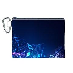 Abstract Musical Notes Purple Blue Canvas Cosmetic Bag (l) by Mariart