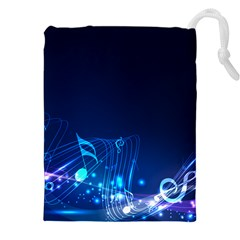 Abstract Musical Notes Purple Blue Drawstring Pouches (xxl) by Mariart