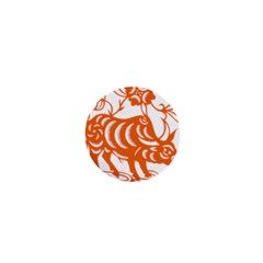 Chinese Zodiac Cow Star Orange 1  Mini Buttons by Mariart