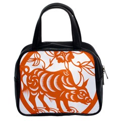 Chinese Zodiac Cow Star Orange Classic Handbags (2 Sides) by Mariart