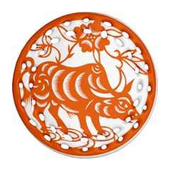 Chinese Zodiac Cow Star Orange Round Filigree Ornament (two Sides) by Mariart