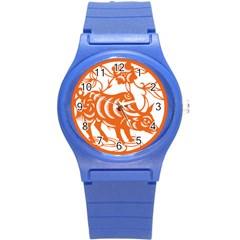 Chinese Zodiac Cow Star Orange Round Plastic Sport Watch (s) by Mariart