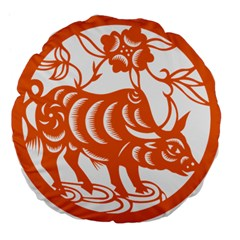 Chinese Zodiac Cow Star Orange Large 18  Premium Flano Round Cushions by Mariart