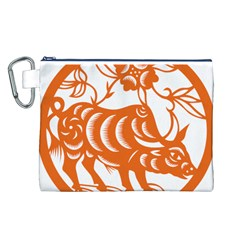 Chinese Zodiac Cow Star Orange Canvas Cosmetic Bag (l) by Mariart