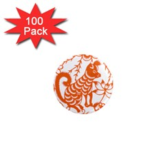 Chinese Zodiac Dog Star Orange 1  Mini Magnets (100 Pack)  by Mariart
