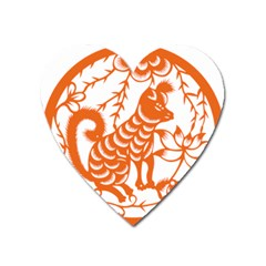 Chinese Zodiac Dog Star Orange Heart Magnet by Mariart