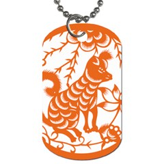 Chinese Zodiac Dog Star Orange Dog Tag (one Side) by Mariart