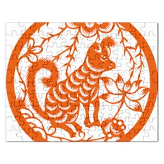 Chinese Zodiac Dog Star Orange Rectangular Jigsaw Puzzl by Mariart