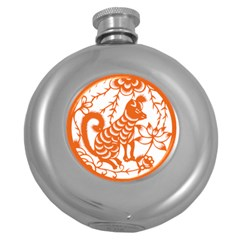 Chinese Zodiac Dog Star Orange Round Hip Flask (5 Oz) by Mariart