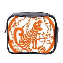 Chinese Zodiac Dog Star Orange Mini Toiletries Bag 2 Side by Mariart