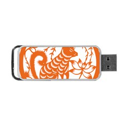 Chinese Zodiac Dog Star Orange Portable Usb Flash (two Sides) by Mariart