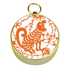 Chinese Zodiac Dog Star Orange Gold Compasses by Mariart
