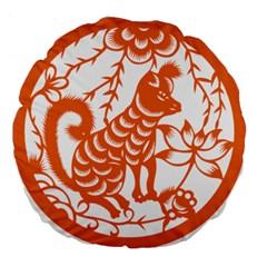 Chinese Zodiac Dog Star Orange Large 18  Premium Flano Round Cushions by Mariart