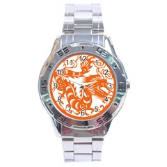 Chinese Zodiac Dragon Star Orange Stainless Steel Analogue Watch by Mariart